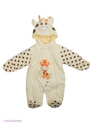 Утепленный комбинезон Kidly. Цвет: коричневый, кремовый, оранжевый
