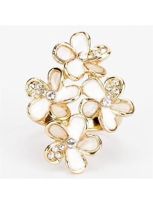 Кольцо Оазис бижутерный сплав, эмаль Колечки. Цвет: белый