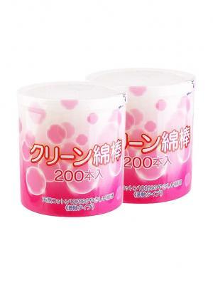 Ватные палочки с антибактериальным компонентом хитозан 200шт х 2 уп. Marusan. Цвет: розовый