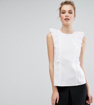 Fashion Union Tall Блузка с рюшами. Цвет: белый