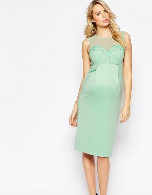 ASOS Maternity Платье для беременных с глубоким вырезом и декоративной отделкой. Цвет: зеленый