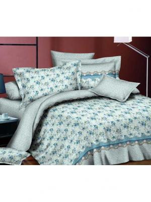 Комплект постельного белья евро, поплин BegAl. Цвет: бирюзовый