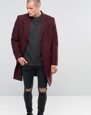 ASOS Бордовое полушерстяное пальто. Цвет: красный