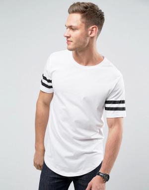 Troy Длинная футболка с закругленным краем и полосками на рукавах. Цвет: белый