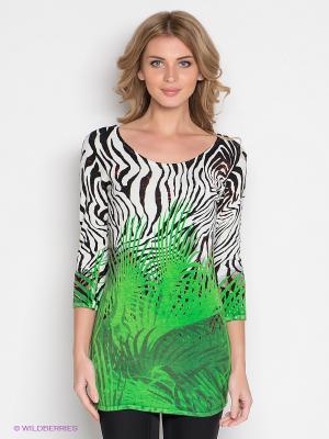 Туника IMAGINI. Цвет: зеленый, белый, черный