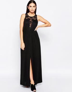 Club L Платье макси с кружевом. Цвет: черный
