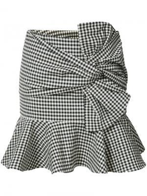 Клетчатая юбка с оборками Veronica Beard. Цвет: чёрный