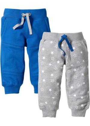Трикотажные брюки из биохлопка (2 шт.) (лазурный/светло-серый меланж) bonprix. Цвет: лазурный/светло-серый меланж