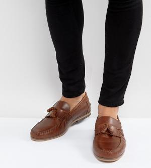 ASOS Светло-коричневые кожаные лоферы для широкой стопы с кисточками и бахр. Цвет: рыжий