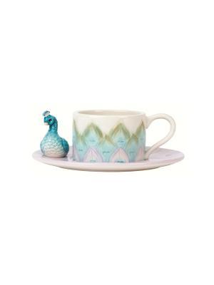 Чашка с блюдцем Жар-птица Elff Ceramics. Цвет: белый, голубой, сиреневый