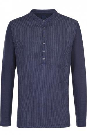 Льняная рубашка хенли 120% Lino. Цвет: темно-синий