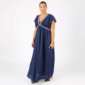 Платье длинное плиссированное однотонное с короткими рукавами LOVEDROBE. Цвет: темно-синий