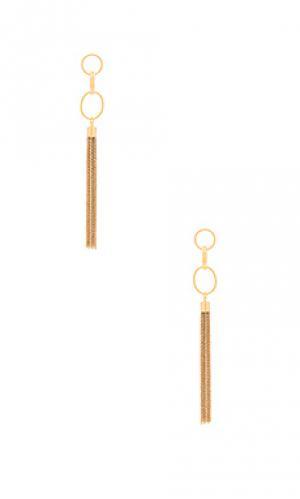 Серьги с кисточками Ettika. Цвет: металлический золотой
