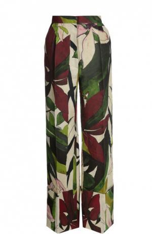 Льняные брюки стрелками и цветочным принтом Erika Cavallini. Цвет: разноцветный