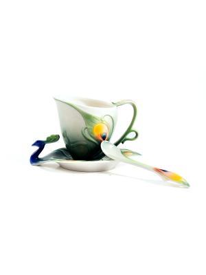 Подарочный чайный набор Павлин на 1 персону Русские подарки. Цвет: бежевый, желтый, зеленый
