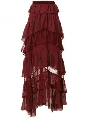 Длинная юбка с рюшами Perseverance London. Цвет: красный