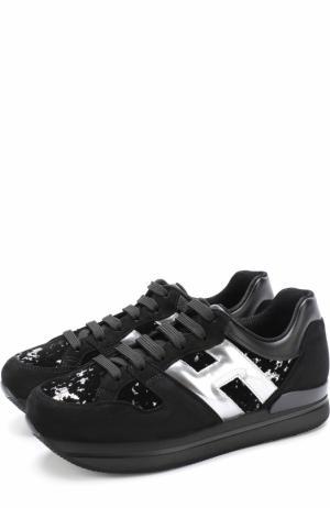 Замшевые кроссовки с вышивкой пайетками Hogan. Цвет: черный