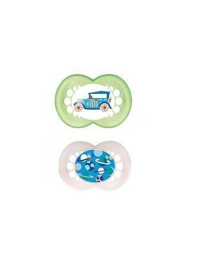 Пустышка силиконовая MAM Original  2 шт. 6-16 месяцев. Цвет: зеленый, белый
