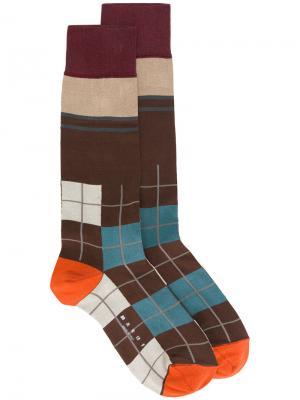 Клетчатые носки Marni. Цвет: коричневый