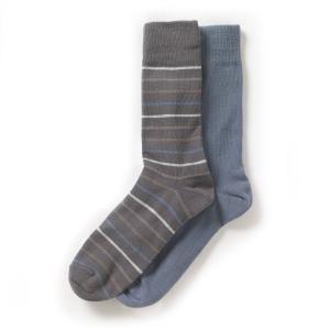 Комплект из 2 пар носков La Redoute Collections. Цвет: серо-синий + в полоску серый,серо-синий + в полоску черный