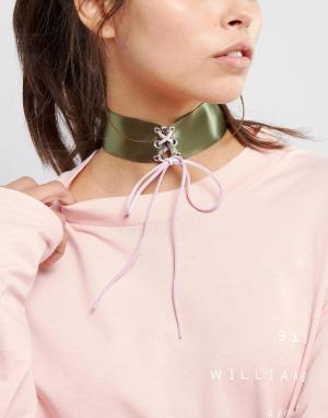 ASOS Ожерелье-чокер цвета хаки со шнуровкой. Цвет: мульти