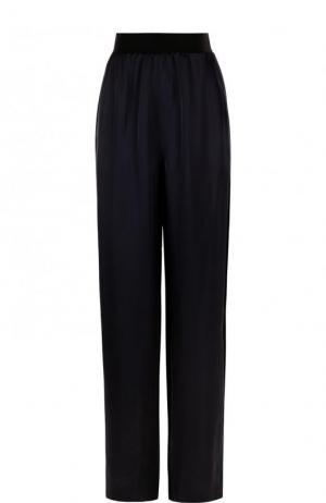 Широкие однотонные брюки из вискозы Maison Margiela. Цвет: темно-синий