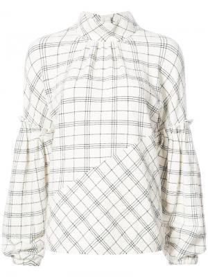 Блузка в клетку с рукавами-колокол Tibi. Цвет: белый