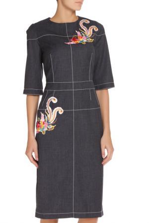 Платье с аппликацией NATALIA PICARIELLO. Цвет: серо-синий