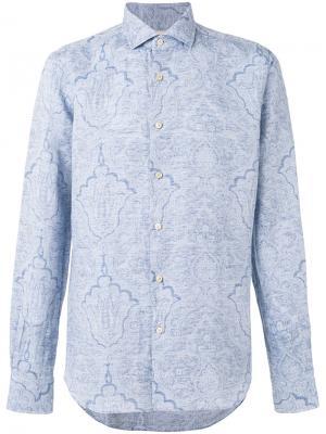 Рубашка с орнаментом Xacus. Цвет: синий
