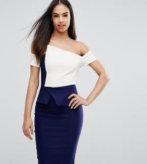 Vesper Платье-футляр контрастной расцветки со складками-оригами. Цвет: мульти
