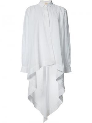 Рубашка с неравномерным подолом Forme Dexpression D'expression. Цвет: белый