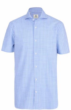 Хлопковая рубашка с короткими рукавами Luigi Borrelli. Цвет: бирюзовый