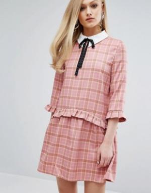 Sister jane Свободное платье с воротником и принтом тартан. Цвет: розовый