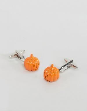 7X Запонки в виде тыкв Halloween. Цвет: красный