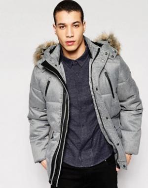 Puffa Пальто с меховой опушкой на капюшоне Caney. Цвет: серый