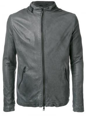 Кожаная куртка Giorgio Brato. Цвет: серый