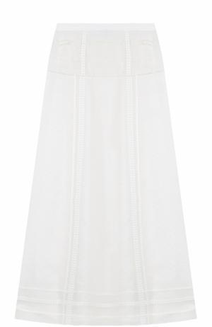Шелковая юбка А-силуэта Oscar de la Renta. Цвет: белый