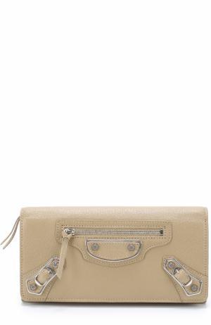 Кожаный бумажник Classic Metallic Edge на молнии Balenciaga. Цвет: бежевый