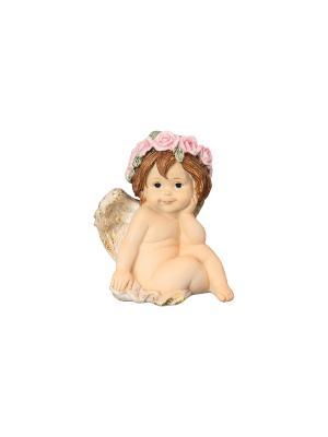 Фигурка декоративная Ангелочек в венке Elan Gallery. Цвет: бежевый, золотистый, коричневый