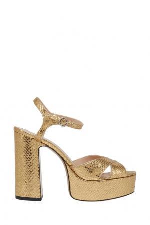 Кожаные босоножки Marc Jacobs. Цвет: золотой