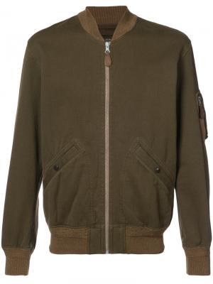Куртка бомбер на молнии Rrl. Цвет: зелёный