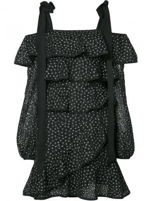 Многоярусное платье Farina Ruffle Rebecca Vallance. Цвет: чёрный