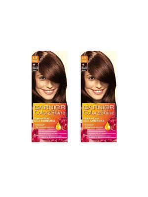 Краска-уход для волос Color&Shine без аммиака, 4.15, Морозный каштан, 2 шт. Garnier. Цвет: коричневый
