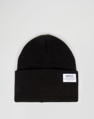 WESC Вязаная шапка-бини Puncho. Цвет: черный