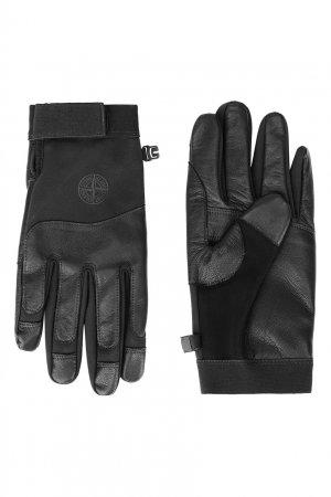 Комбинированные перчатки с застежкой-липучкой Stone Island. Цвет: черный