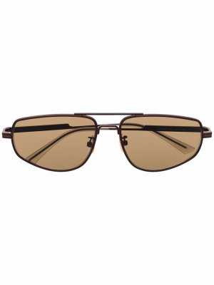 Солнцезащитные очки в прямоугольной оправе Bottega Veneta Eyewear. Цвет: коричневый