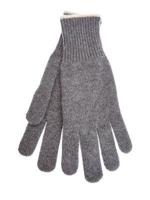 Перчатки из кашемировой пряжи с контрастным кантом BRUNELLO CUCINELLI. Цвет: серый