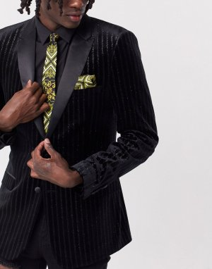 Черный узкий атласный галстук и платок для пиджака с принтом в стиле барокко ASOS DESIGN