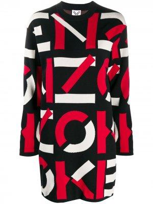 Платье-свитер с логотипом вязки интарсия Kenzo. Цвет: черный