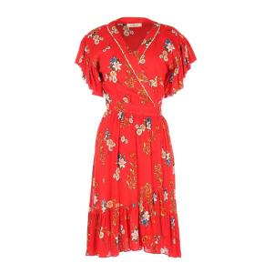 Платье с запахом цветочным рисунком короткими рукавами и воланами по низу DERHY. Цвет: красный наб. рисунок